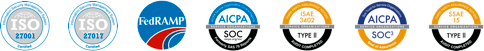 Security certifications ISO 27001, ISO 27017, AICPA SOC, ISAE 3402, AICPA SOC 3, SSAE 15